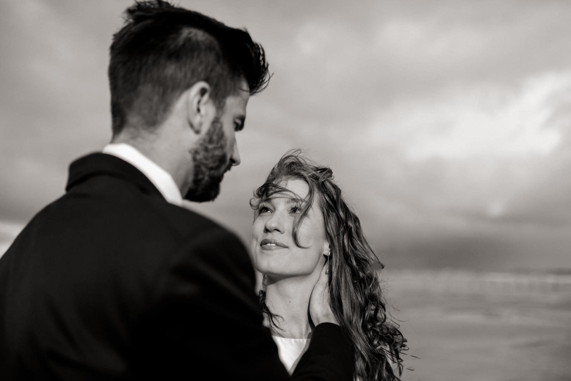 black and white wedding portrait-documentary wedding portrait