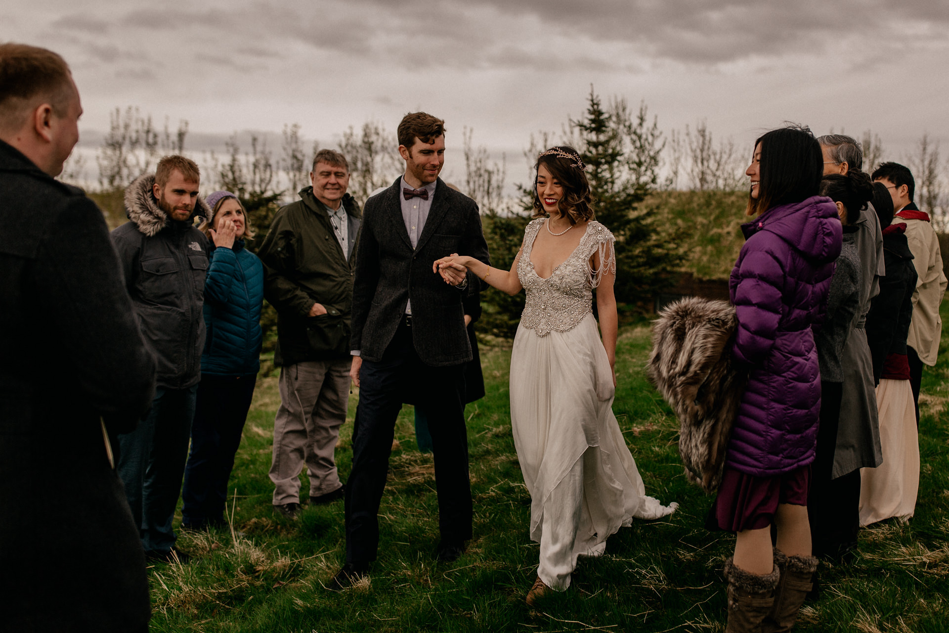 iceland wedding photographer-hella wedding ceremony-first look bride and groom