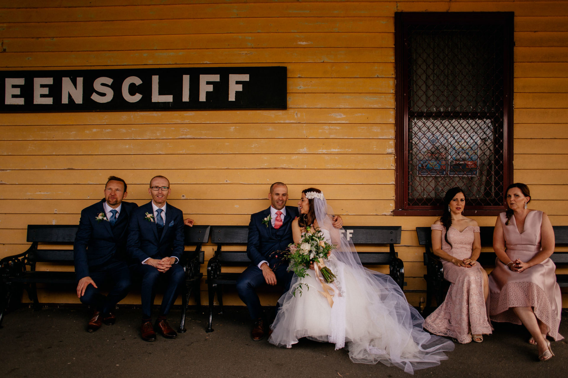 Melbourne Wedding Photographer-Queenscliff DIY garden wedding-bridal portraits queens cliff old train station