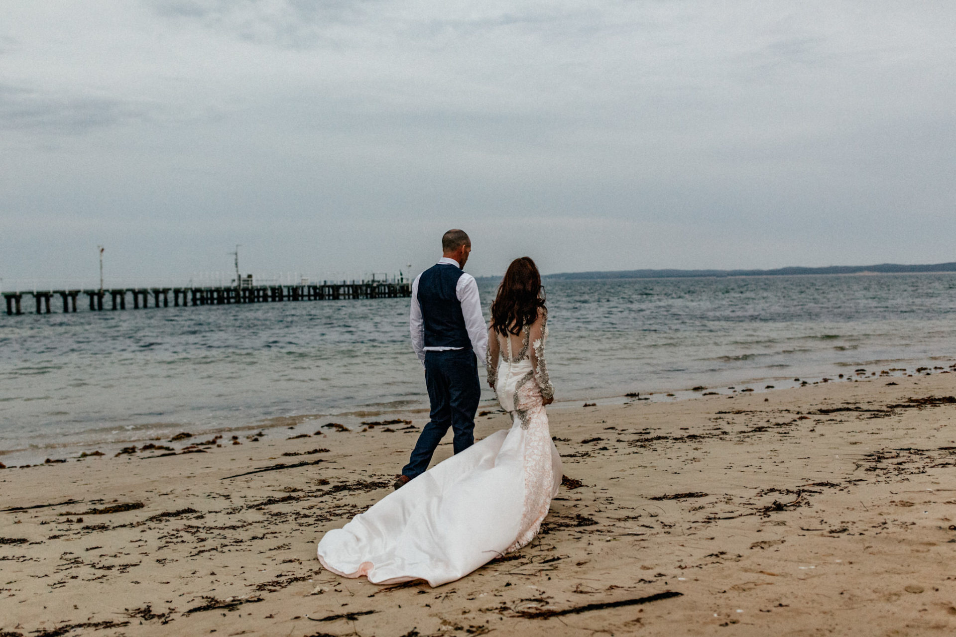 Melbourne Wedding Photographer-Queenscliff wedding-bridal portrait beach
