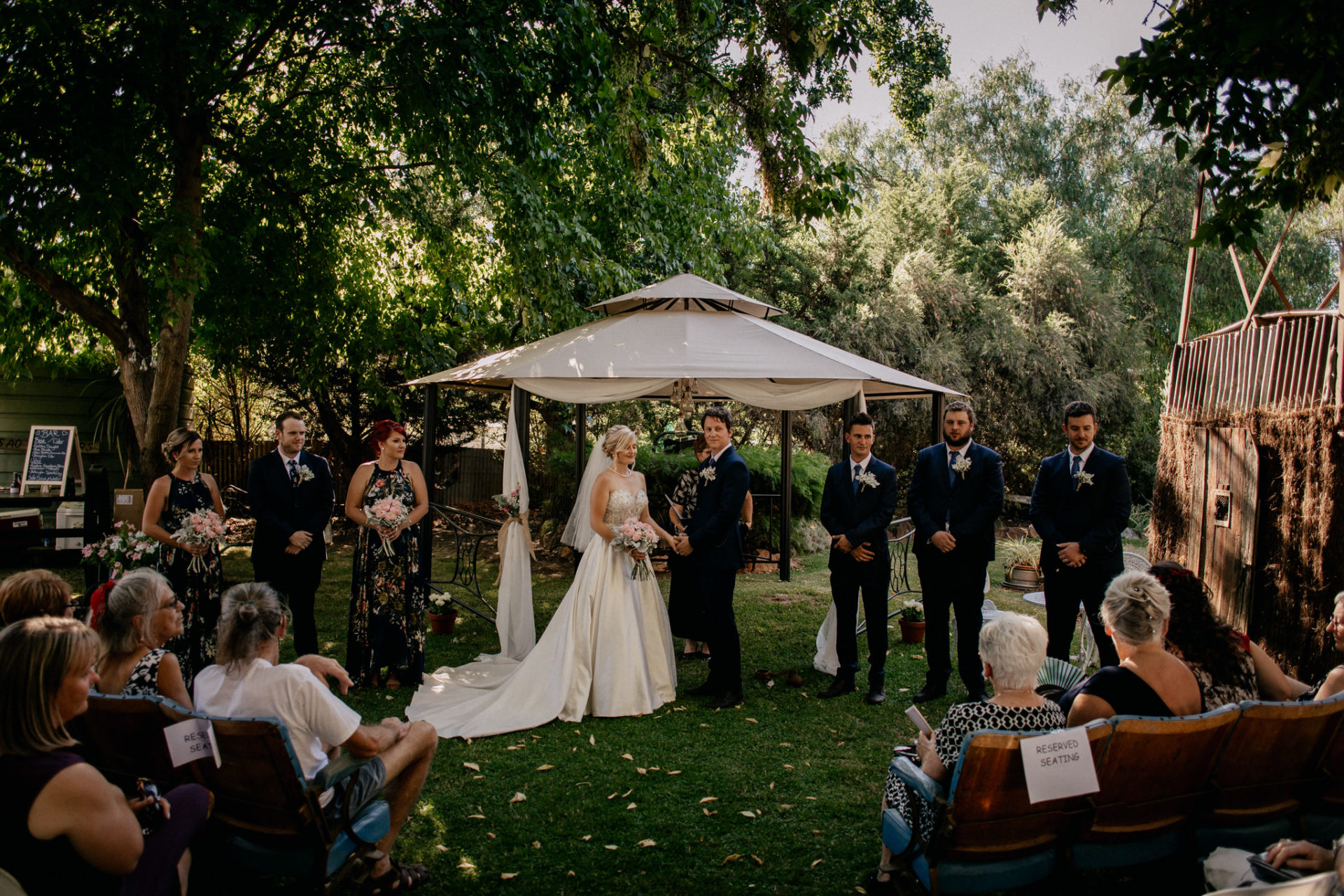 backyard-wedding-australia-melbourne-ceremony-garden-bridal-party-cinema-seats