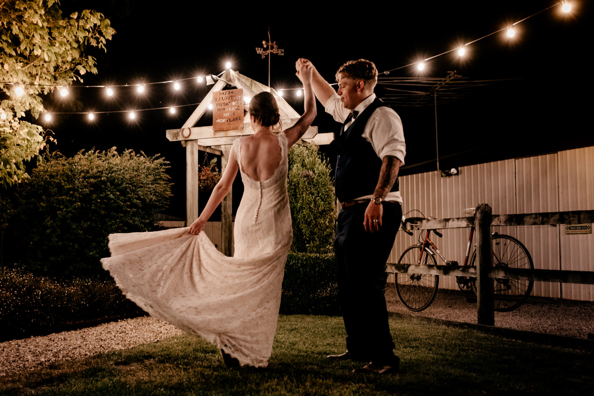 backyard wedding melbourne-trend 2019-garden wedding at home-fairy lights-bride groom portrait-night time-first dance-outdoor