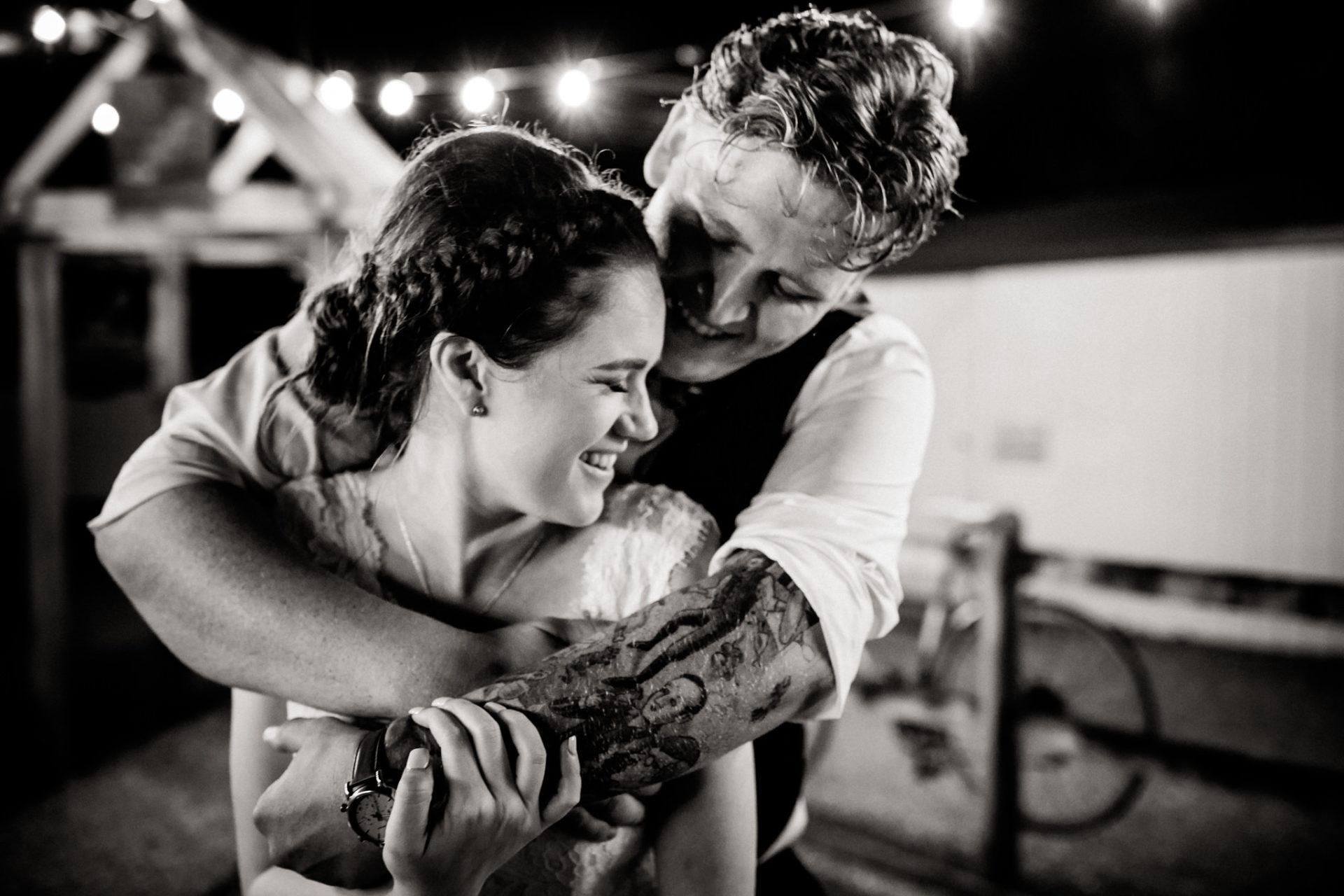backyard wedding melbourne-trend 2019-garden wedding at home-fairy lights-bride groom portrait-night time-