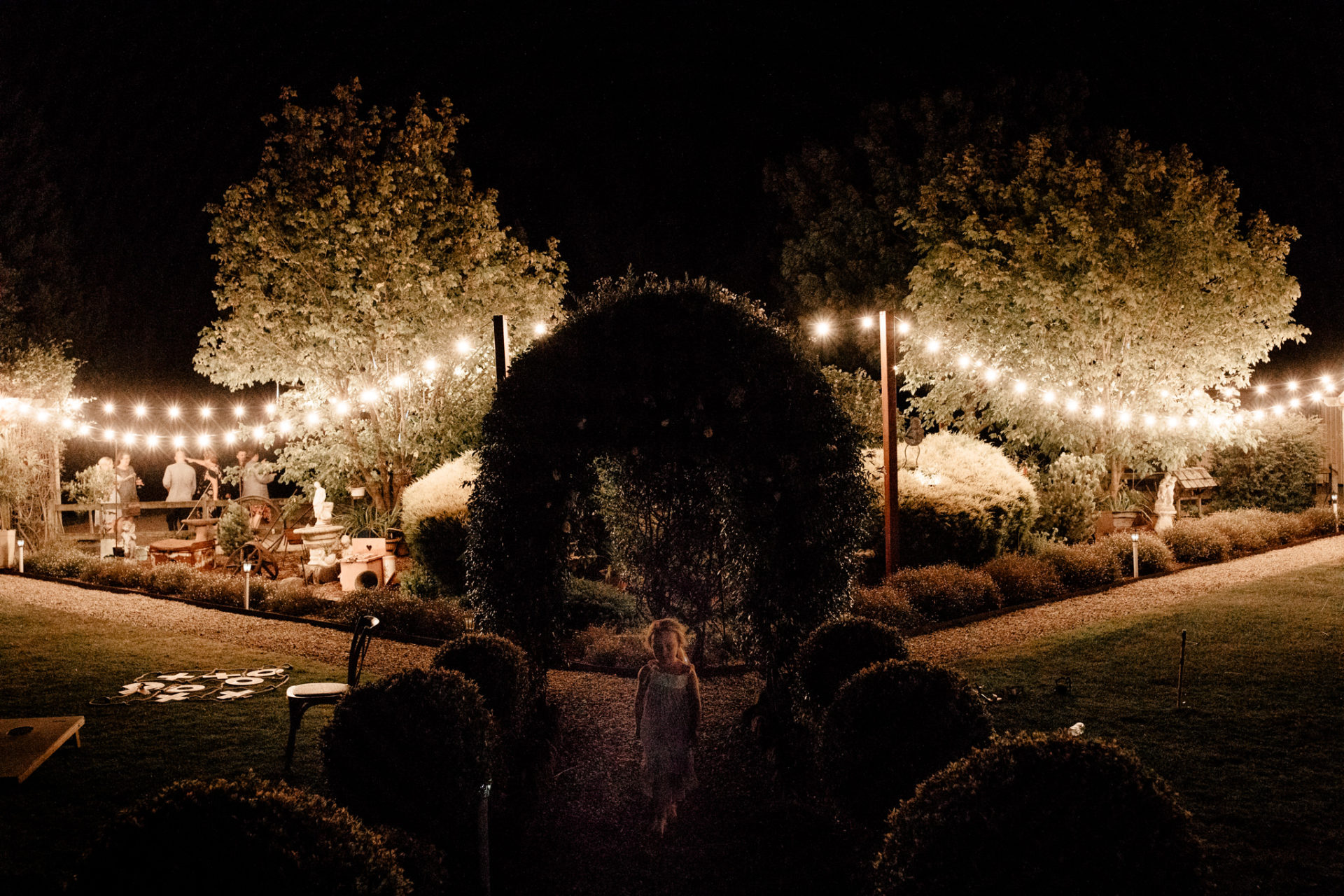 backyard wedding melbourne-trend 2019-garden wedding at home-fairy lights-decoration-flower girl