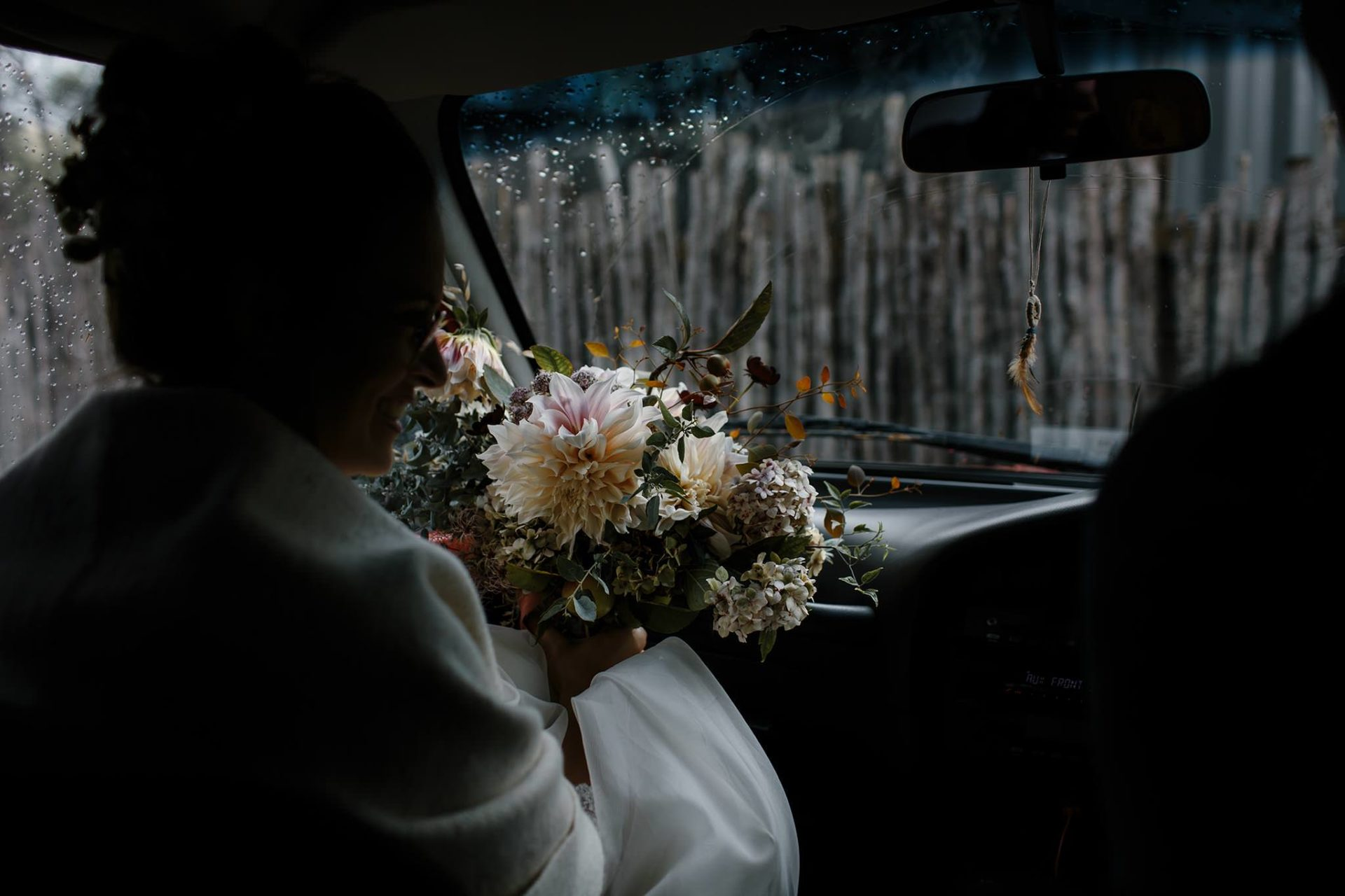 bride-tasmania wedding flowers-primula floral styling-elopement pump house point-eukalypt-miniature apples-headpiece