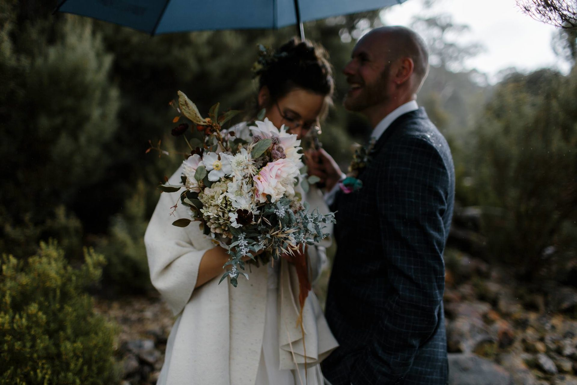 bride groom-tasmania wedding flowers-primula floral styling-elopement pump house point-eukalypt-miniature apples-headpiece